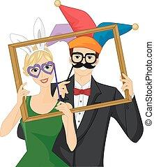 appui verticaux, photobooth, cadre, wacky, couple