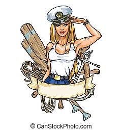 appuntare, etichetta, marinaio, sexy, ragazza