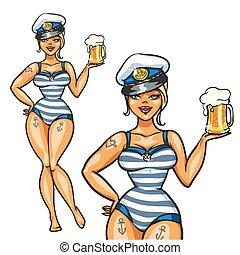 appuntare, marinaio, ragazza, con, birra fredda