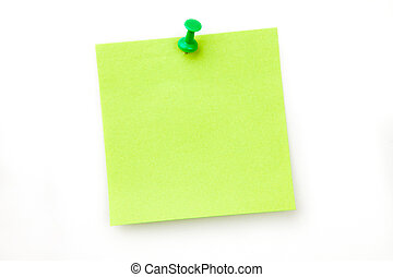 appuntato, nota, adesivo, verde
