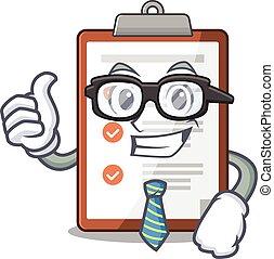 appunti, uomo affari, rotolo, carattere, occhiali, fresco, cartone animato