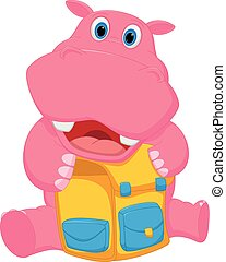 appy, hipopótamo, saco, caricatura, escola