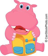 appy, hippopotame, sac, dessin animé, école