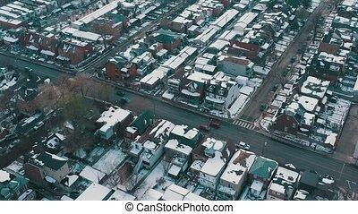 après, aérien, toronto, snowfall., coup, establishing,...