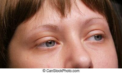 après, avoir, wig., sourcils, yeux, développé, a,...