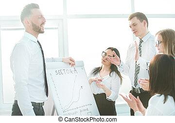 après, business, réussi, applaudir, presentation., équipe