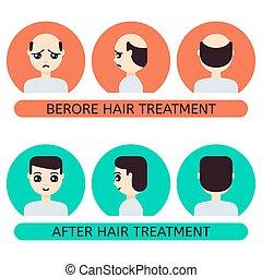 après, cheveux, traitement, homme, dessin animé, avant