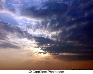 après, coucher soleil, orage