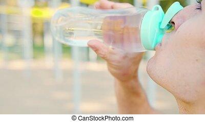 après, eau, exercices, boire, caucasien, homme