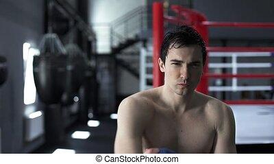 après, fatigué, boxe, satisfait, boxeur, homme