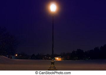 après, parc, neiger orage, nuit