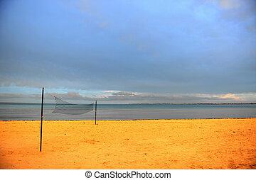 après, plage, pluie