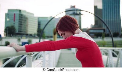 après, reposer, dehors, pont, jeune femme, city., exercice