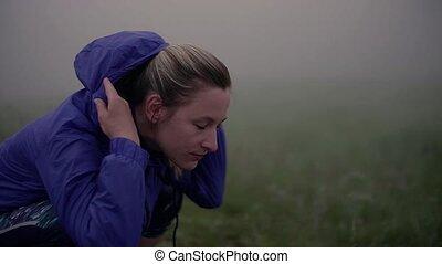 après, reposer, nature., dehors, brumeux, jeune femme, exercice
