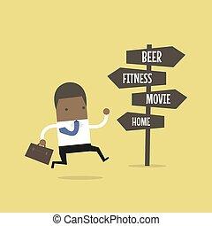 après, work., destination, africaine, aller, homme affaires