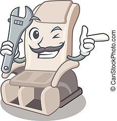 apró alakzat, szerelő, szék, karikatúra, masszázs