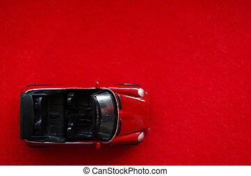 apró autó, tető, gyermekek, suv, háttér, kicsi, nyílik, piros