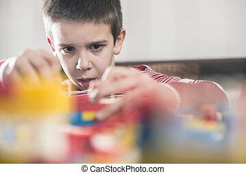 apró, gyermekek, játék, gyermek, konstruktőr