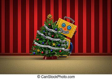 apró robot, boldog, noha, karácsonyfa