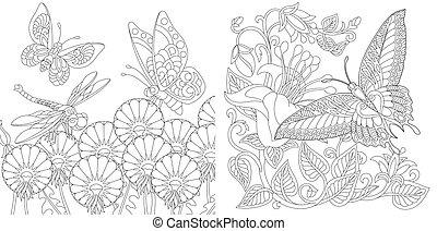 apródok, színezés, pillangók