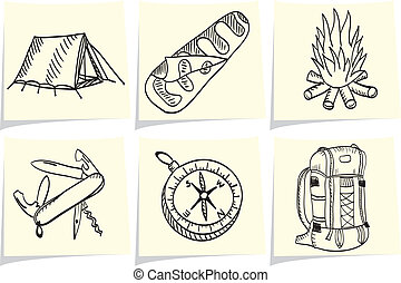 aprófa, memorandum, állhatatos, külső, sátortábor felszerelés, sárga