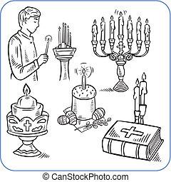 aprósütemény, biblia, -, ábra, vektor, húsvét