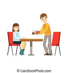 aprósütemény, briniging, desszert, ábra, személy, vektor, pasas, kellemes, lány mosolyog, kávéház, birtoklás, asztal, cukrászsütemény