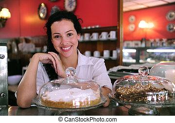 aprósütemény, neki, ügy, kiállítás, tulajdonos, ízletes, kicsi, bolt