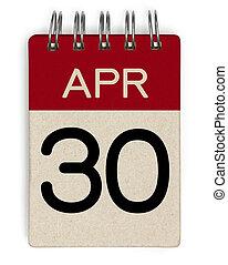 apr, calendrier, 30
