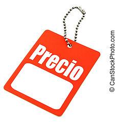"""aprece etiqueta, com, a, espanhol, """"price"""", palavra"""