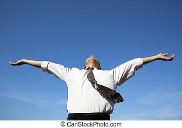 apreciar, azul, relaxe, céu, livre, sob, homem negócios