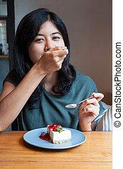 apreciar, bolo, mulher, café, jovem