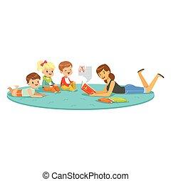 apreciar, educação, coloridos, escola, upbringing, ou, livro leitura, professor, crianças, jardim infância, caráteres, escutar, crianças, crianças, pré-escolar
