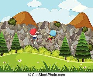 apreciar, escalando, rocha, crianças, atividade