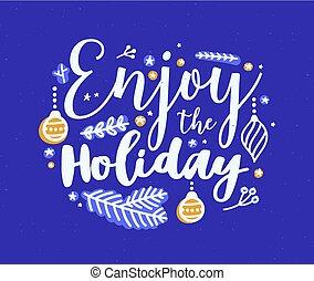 apreciar, inscrição, ramos, coloridos, manuscrito, postcard., árvore, ilustração, calligraphic, message., escrito, vetorial, festivo, coniferous, decorado, feriado, natal, baubles., manuscrito