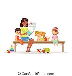 apreciar, leitura, crianças, coloridos, sentando, ou, upbringing, professor, enquanto, livro, banco, jardim infância, caráteres, escutar, educação, crianças, pré-escolar