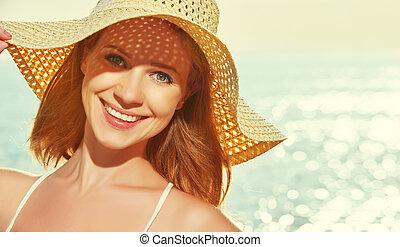 apreciar, mulher, beleza, chapéu, pôr do sol, mar, praia, feliz