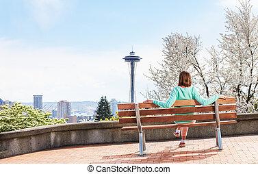 apreciar, mulher, parque, centro cidade, seattle, vista