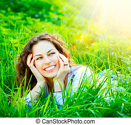 apreciar, outdoors., mulher, jovem, natureza
