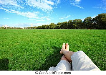 apreciar, relaxe, descalço, natureza