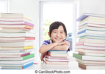 apreciar, sala aula, pequeno, feliz, estudar