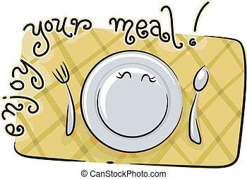 apreciar, seu, refeição