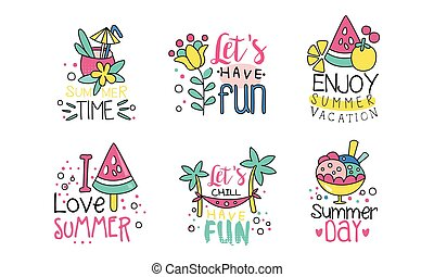 apreciar, tempo, vetorial, modelos, divertimento, férias, coloridos, ilustração, logotipo, cobrança, ter, desenho, etiquetas, verão, cute, lets