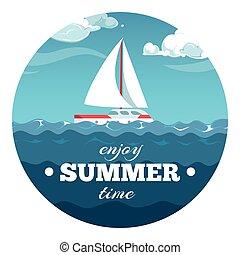 apreciar, verão, cartão postal, texto, ilustração, amostra, mar, tempo, bote, design.