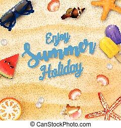 apreciar, verão, elementos, feriados, fundo, praia
