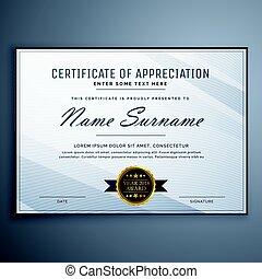 aprecio, diseño, certificado, limpio, plantilla