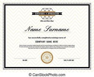 aprecio, marco, retro, certificado, plantilla