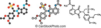 Apremilast psoriasis drug molecule. Conventional skeletal...
