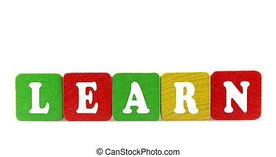 aprender, -, aislado, texto, en, de madera, componentes básicos