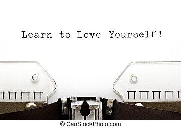 aprender, amor, máquina de escribir, usted mismo